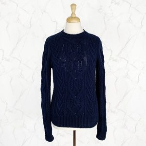 J. Crew Cable Knit 100% Cotton Crew Neck Sweater